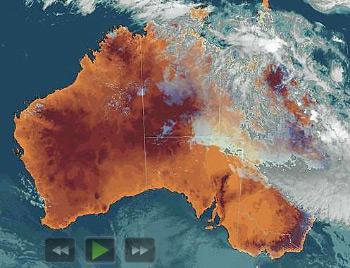 Diese Wolkendecke hängt über halb Australien