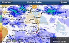 Regenradar, roter Punkt ist Nerang, so ungefähr