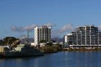 Blick vom Boot auf unser Hotel
